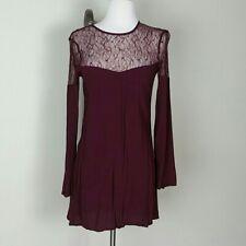 KENDALL & KYLIE Women's Long Sleeve Blouse Mini Dress Burgundy Size Small, EUC