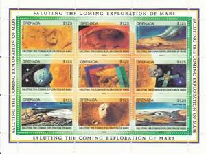 Set of Four 9-Stamp Blocks from Grenada. Saluting the Exploration of Mars. Mint.