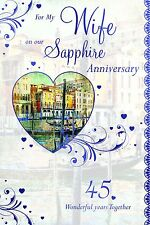 Sapphire Anniversary Wife Card 45 Years Married ~ Nice Card ~ Lovely Verse