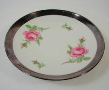 Hutschenreuther Schale rosa Rose Feinsilberauflage Gebr. Deyhle Porzellan