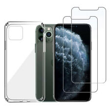 For iPhone 11 Pro Max XS XR Screen Protector Soft Clear Case Tempered Glass Film