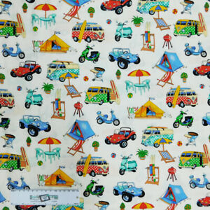 Patchwork Quilting Sewing Fabric Getaway Camping Kombi 50x55cm FQ