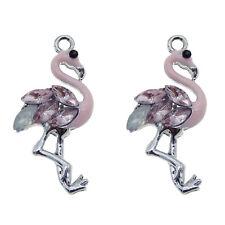 Pack of 10 Enamel Metal Flamingos Bird Charms w/ Rhinestones Pendants Crafts DIY
