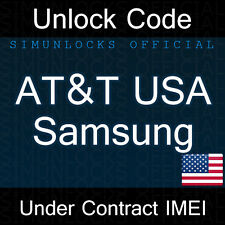 Unlock Code Samsung Galaxy S9 S8 S7 S6 Edge Note 7 8 AT&T USA