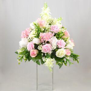Artificial Wedding Flowers Martini Glass Centrepiece Decoration Arrangement Pink