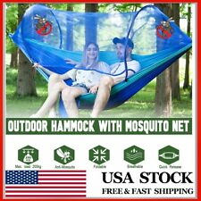 Double Person Camping Hanging Hammock Bed W/ Mosquito Net Summer Hik