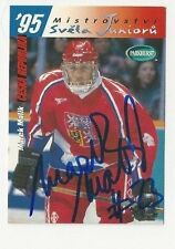 1995 Parkhurst Autographed Hockey Card Marek Malik Team Czech Republic