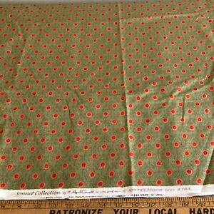 NEW Fabric : MODA Sonnet Collection/April Cornell, 2 yd piece, green/orange/red