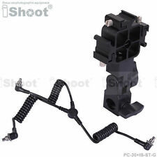 3-plug PC SYNC Cord Cable+Tri-hot shoe Mount Flash Holder Bracket fr Light Stand