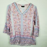 Crosby WOmens Top Size S Pink Blue Paisley V Neck Tunic 3/4 SLeeve Blouse New