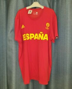 SPAIN Football Shirt Adidas Cotton Tee Soccer Jersey ADIDAS Large Red Top L