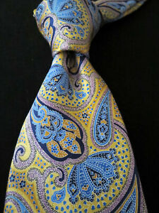 NWT $205 ERMENEGILDO ZEGNA Yellow Blue Paisley All Satin Silk Tie