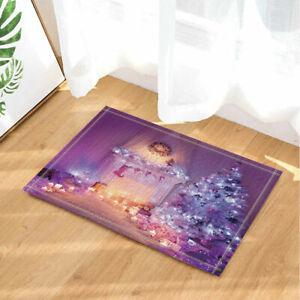 Purple Christmas Decor With Trees Waterproof Shower Curtain Plastic Hooks 71inch