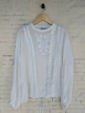 Bohemian Traders White Floral Embroidered Top Blouse Size XL Button Boho Womens