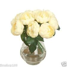 1 Bouquet 6 Heads Artificial Peony Silk Flower Leaf Home Wedding Party Decor
