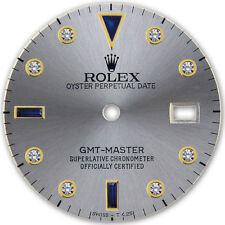 Rolex GMT Master 2 Tone Slate Grey Serti Diamond Sapphire Accent Dial