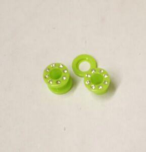 PAIR-Green w/Clear Gems Acrylic Screw On Ear Tunnels 08mm/0 Gauge Body Jewelr