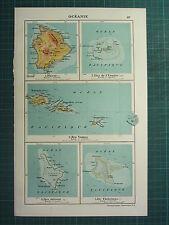 1921 MAP ~ OCEANIA ~ SAMOA ISLANDS HAWAII CHRISTMAS HERMIT ISLAND