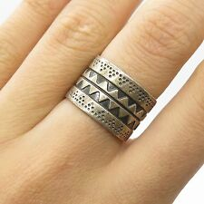 Mexico Vtg 925 Sterling Silver Handmade Wide Modernist Band Ring Size 6 1/4