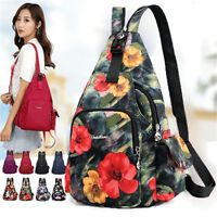 Women Sling Shoulder Bag Travel Crossbody School Book  Waterproof Nylon Backpack