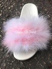 Womens Handmade Big Fluffy Fur Sliders  Fur WEDDING White Candy Pink 3,4,5,6,7uk