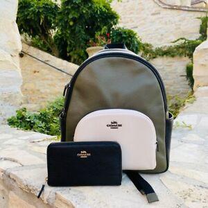 Coach Court Backpack Color block Leather Bag/Wallet options Olive black