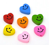 50 Mixed Multicolor HOTSELL Smiling Heart Wood Beads 18x16mm