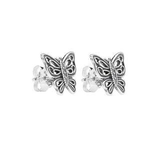 Genuine Pandora Silver Butterfly Stud Earrings 290547