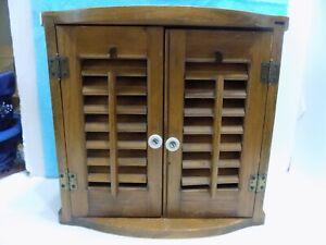 Shuttered Wood Cabinet Louvered Doors Porcelain Knobs 2 Shelves (7-3-16-21)
