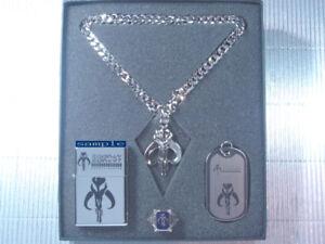 Star Wars Boba Fett Bounty Hunter Bantha Skull Dog Tag Necklace Ring Set PG