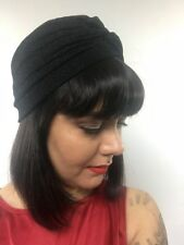 Bonnet turban stretch noir à paillettes pinup burlesque rétro sexy original