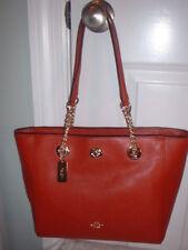 NWT Coach Pebbled Leather Turnlock Chain Tote 27 Handbag 57107 Terracotta
