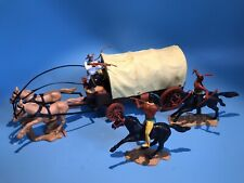 TIMPO TOYS ORIGINAL COWBOY WESTERN WAGON COVERED WAGON UNDER ATTACK BY INDIANS