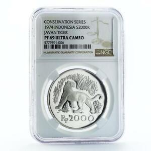 Indonesia 2000 rupiah Javan Tiger PF69 NGC proof silver coin 1974