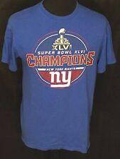 New York Giants Super Bowl XLVI 46 Champions NFL Football Mens Large Blue Shirt