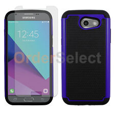 Hybrid Rubber Case+LCD HD Screen Protector for Samsung Galaxy J3 Emerge Blue