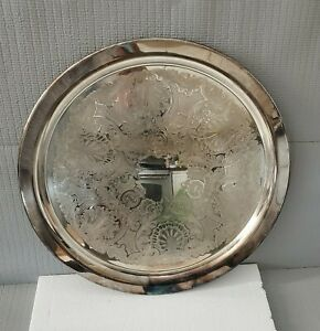 Vintage 19 Inches Round Oneida Silver Plated Serving Tray Patina
