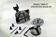 """Rotary Table 3"""",75 mm,Chuck 65 mm self centering Jaws - Ratio 38:1"""