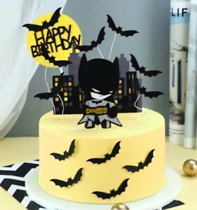 10pcs black Batman topper superheroes cake topper batman cupcake toppers