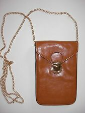 Shoulderbag Cross Body Small Compact Slimline Cellphone Wallet Purse Brown Tan