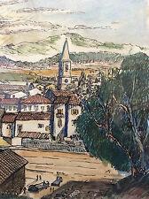 Superbe aquarelle A Magnier illustrateur journal La Provence marseille années 50