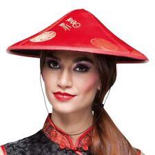 Chinesenhut mit Zopf rot Fasching Karneval Hut Asien China