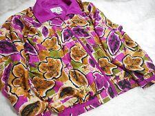 Vintage Casual Isle Jacket Full Zip Jacket Pink Gold Leaf flower Womens L Silk