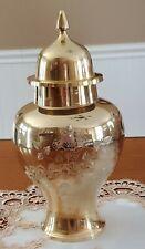 Vintage Etched Floral Brass Vase with Lid Urn Made in India