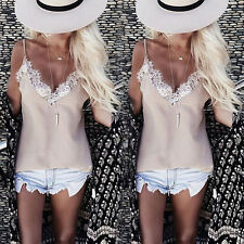 Fashion Women's Summer Lace Vest Top Sleeveless Casual Tank Blouse Tops T-Shirt