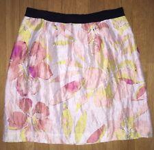 Ann Taylor LOFT Pink Hibiscus Print Skirt Sz 8P Peach Floral Linen Blend