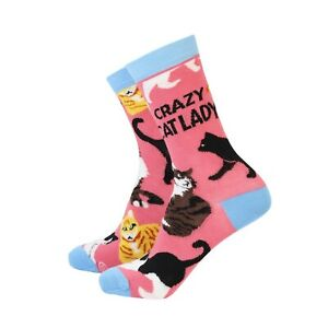 Womens Funny Crazy Cat Lady Bamboo Novelty Gift Socks | Sock Therapy