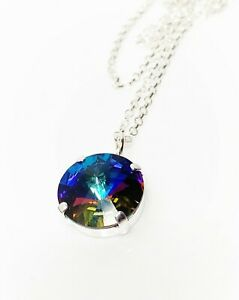 Meridian Blue Crystal Pendant Sterling Silver Faceted Necklace Women Gift Boxed