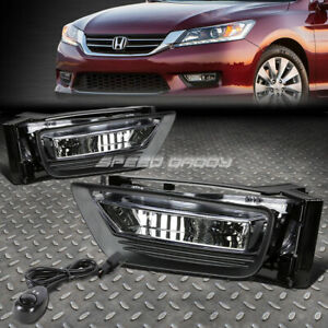 FOR 13-15 HONDA ACCORD SEDAN CLEAR LENS BUMPER DRIVING FOG LIGHT LAMPS W/SWITCH