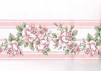 Pink Roses on White Flower Floral Wallpaper Border